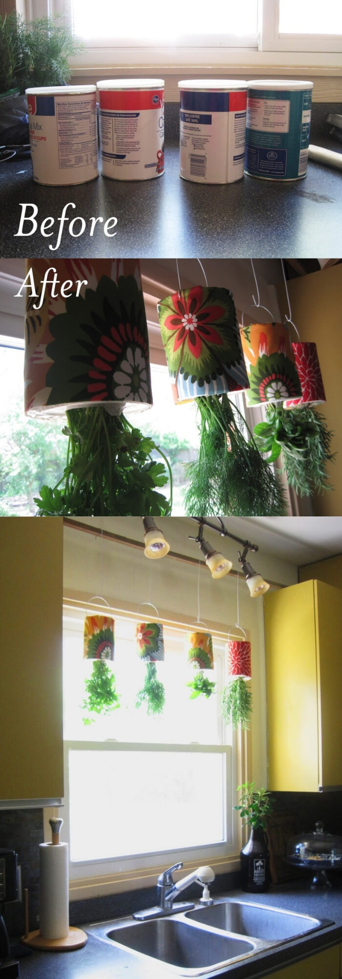 Hanging Herb Garden with snap-on plastic lids