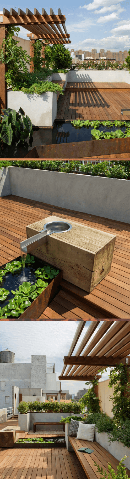 A traditional full sun rooftop water fountain landscape