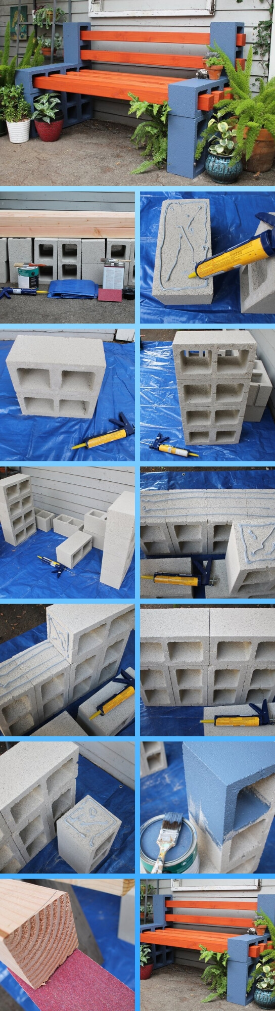 Simple Cinder Block Outdoor Bench