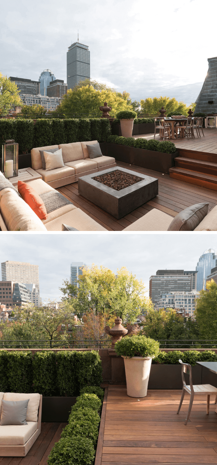 Boston rooftop garden with deck