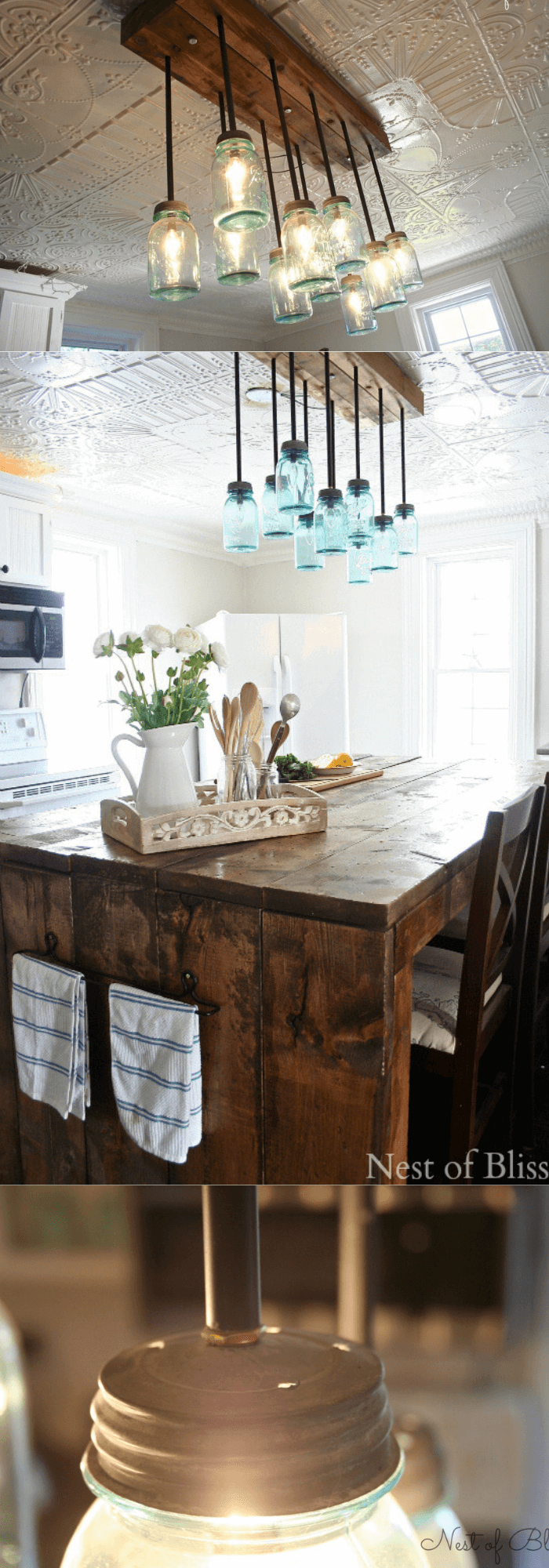 Kitchen Decor Projects With Reclaimed Wood Use plenty of strong wood glue to secure three pieces of wood together with the wood without holes in the middle