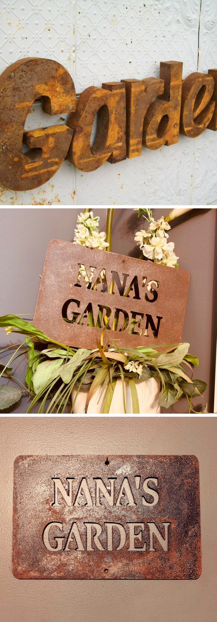 Rusty Metal garden DIY Ideas Metal garden sign