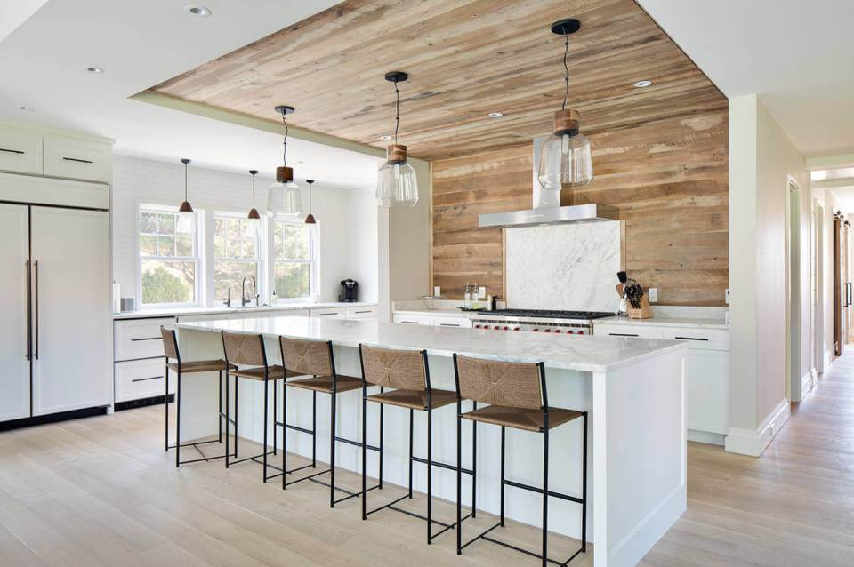 Kitchen Decor Projects With Reclaimed Wood Modern, rustic oak waterfall wall feature
