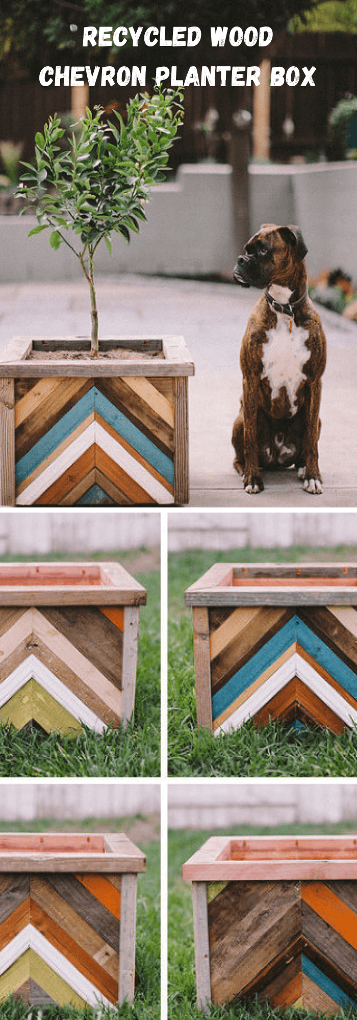 DIY Recycled Wood Chevron Planter Box
