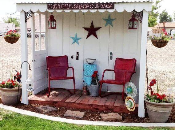 Five discarded doors to make a charming sitting area