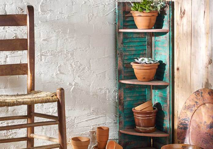 Old Shutter Outdoor Decor Ideas Patina Shutters Shelf Unit