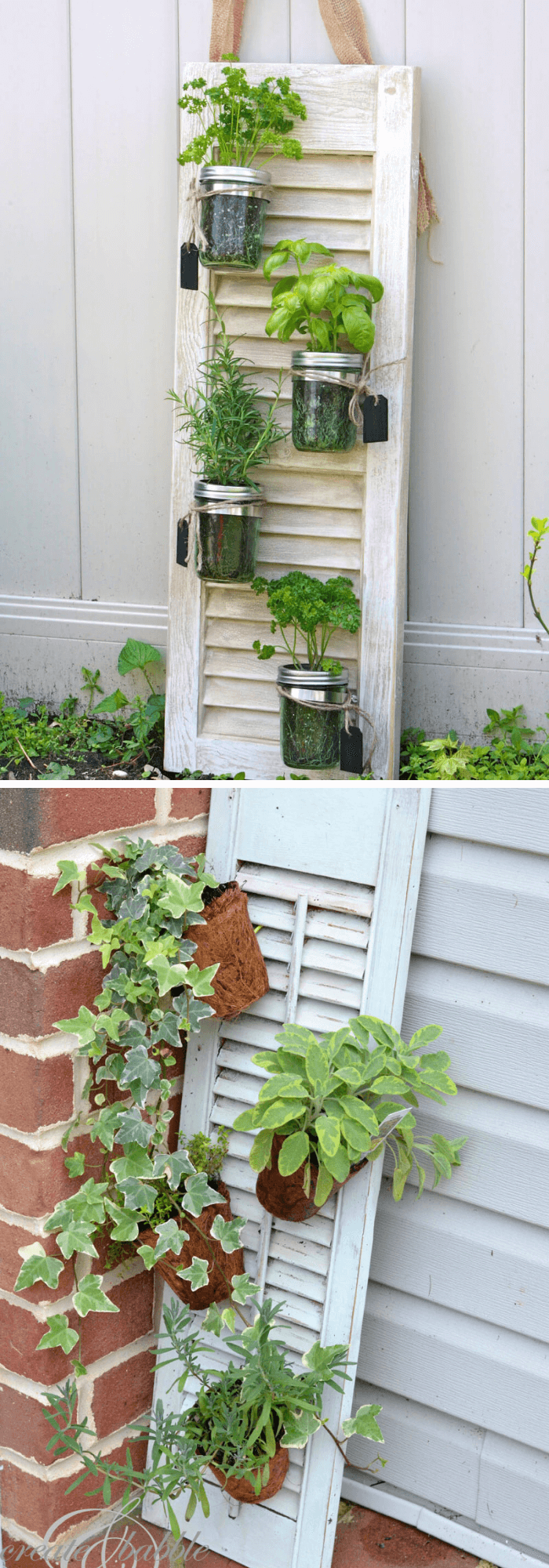 Old Shutter Outdoor Decor Ideas Shutter and Mason Jar Herb Garden