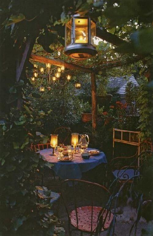Outdoor space with lighting for night event