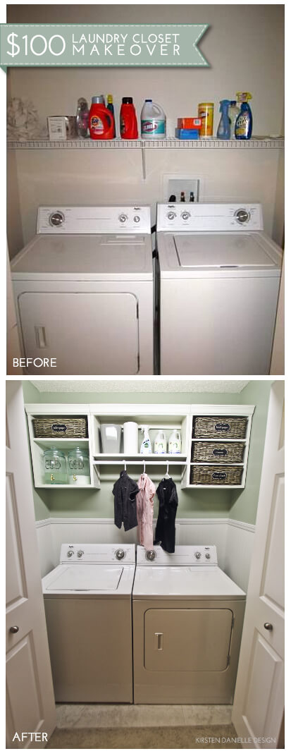 Little laundry closet with label