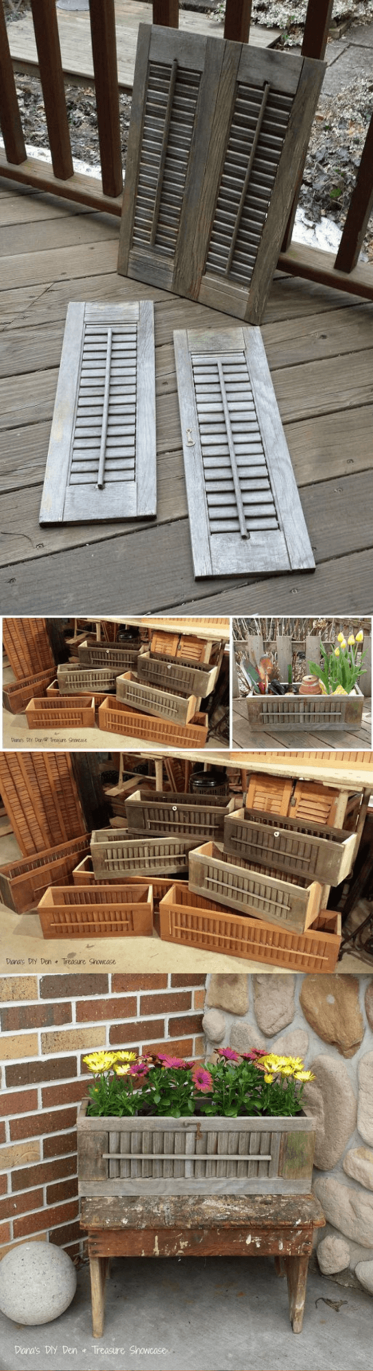 Old Shutter Outdoor Decor Ideas Repurposed Shutter Planter Boxes