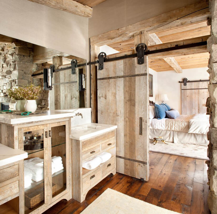 Using a wood sliding door to divide the bedroom and the bathroom