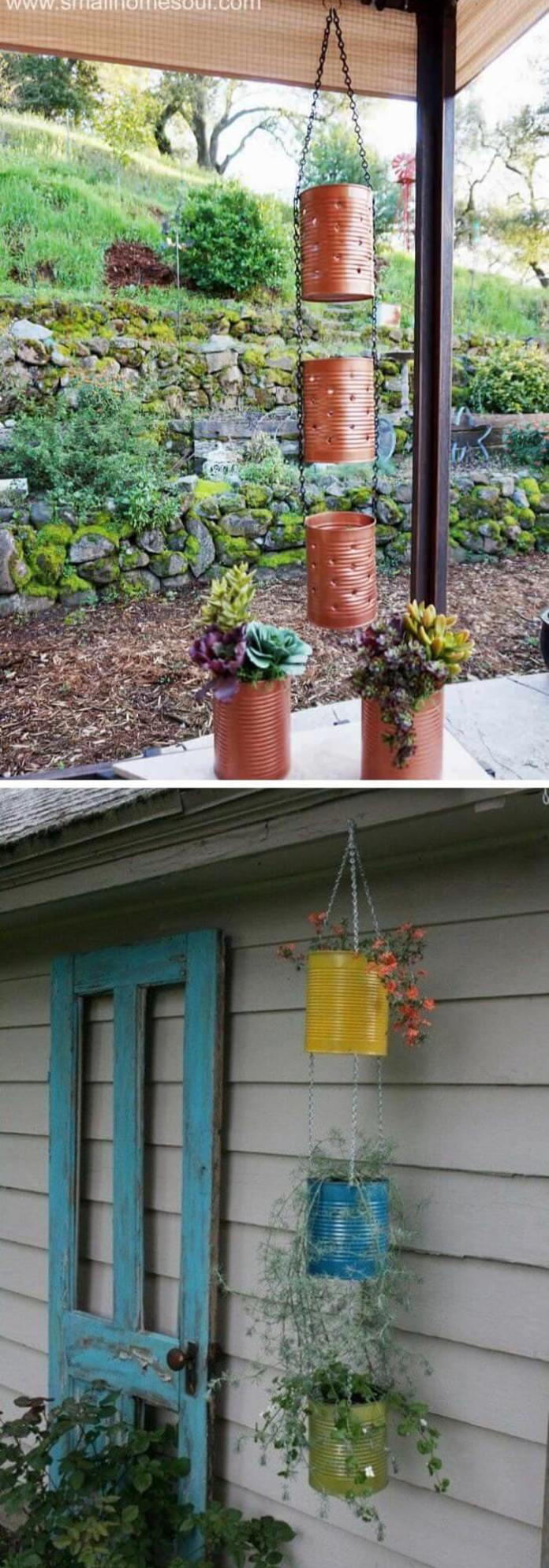 Recycled Tin Can Lantern and Hanging Planter