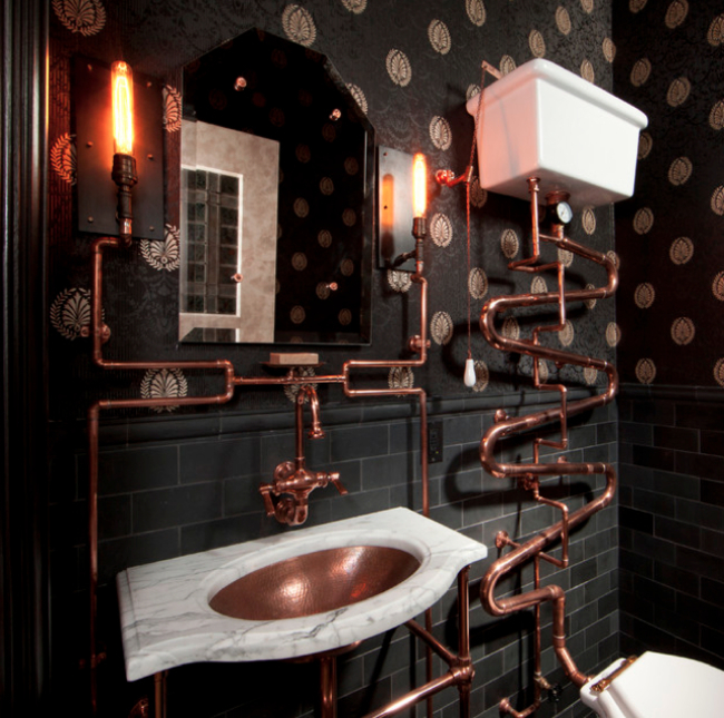 copper bath with the pipe outside