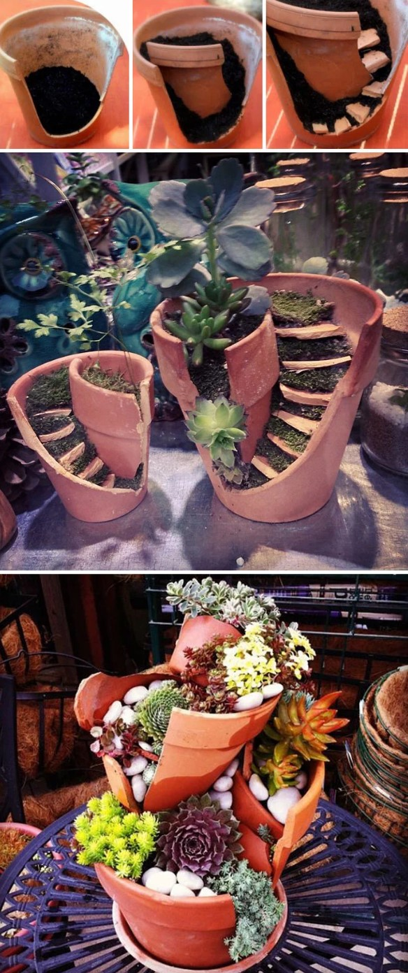 Flower pot broke and repaired creatively