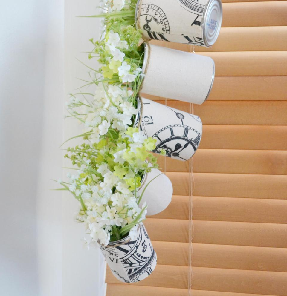 Hanging Tin Can Planters for Window