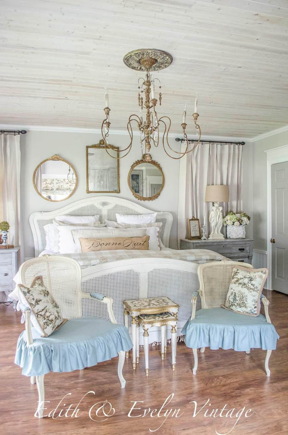 French cane chairs and beautiful chandelier