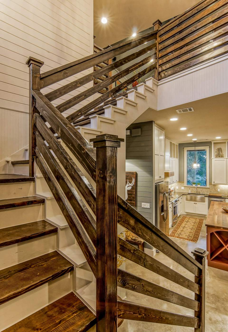 Rustic Stained Wood Staircase