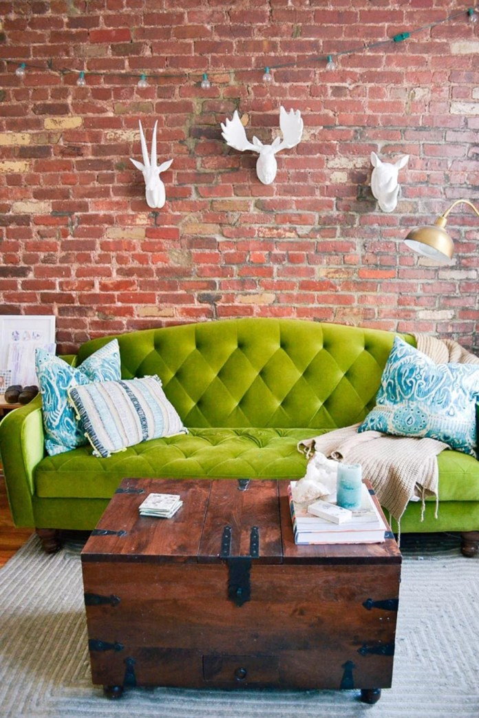 green armchair in room