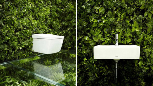 bathroom attached to a wall with plants