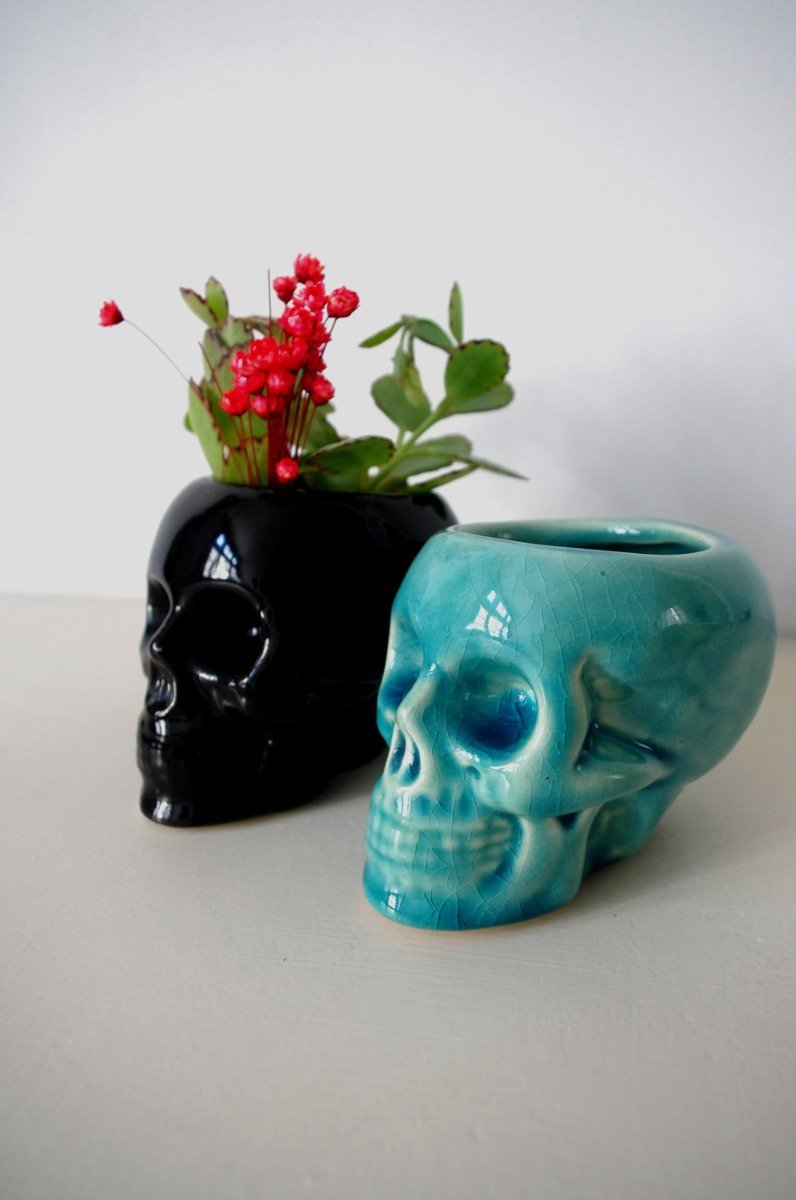 Small pots of black and blue skull
