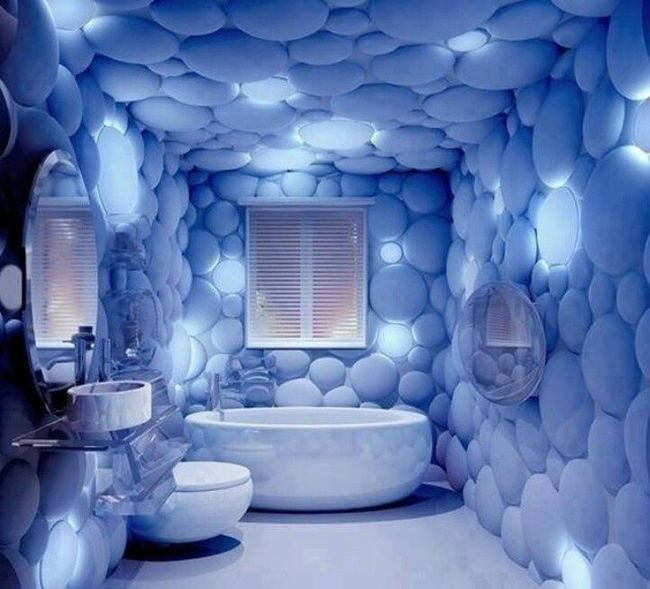 bathroom with walls with linings that look like bubbles