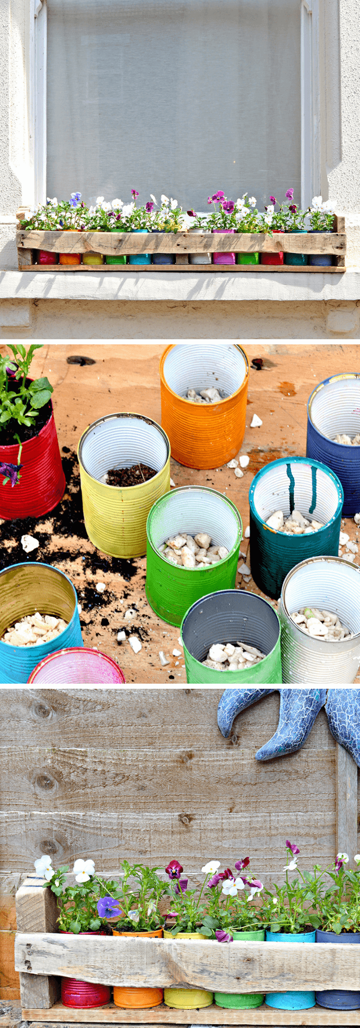 Colorful Tin Can Planters