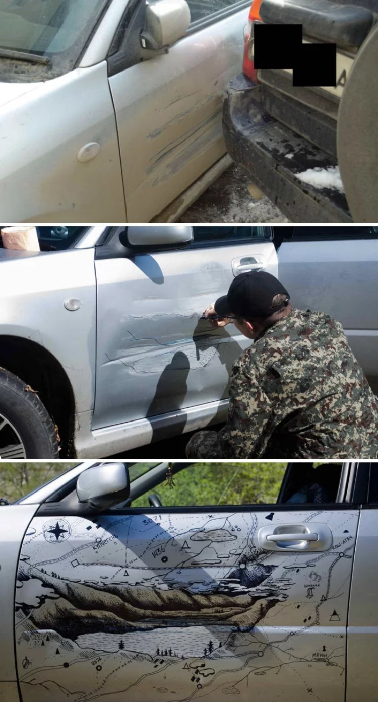 Man painting the bump of his car