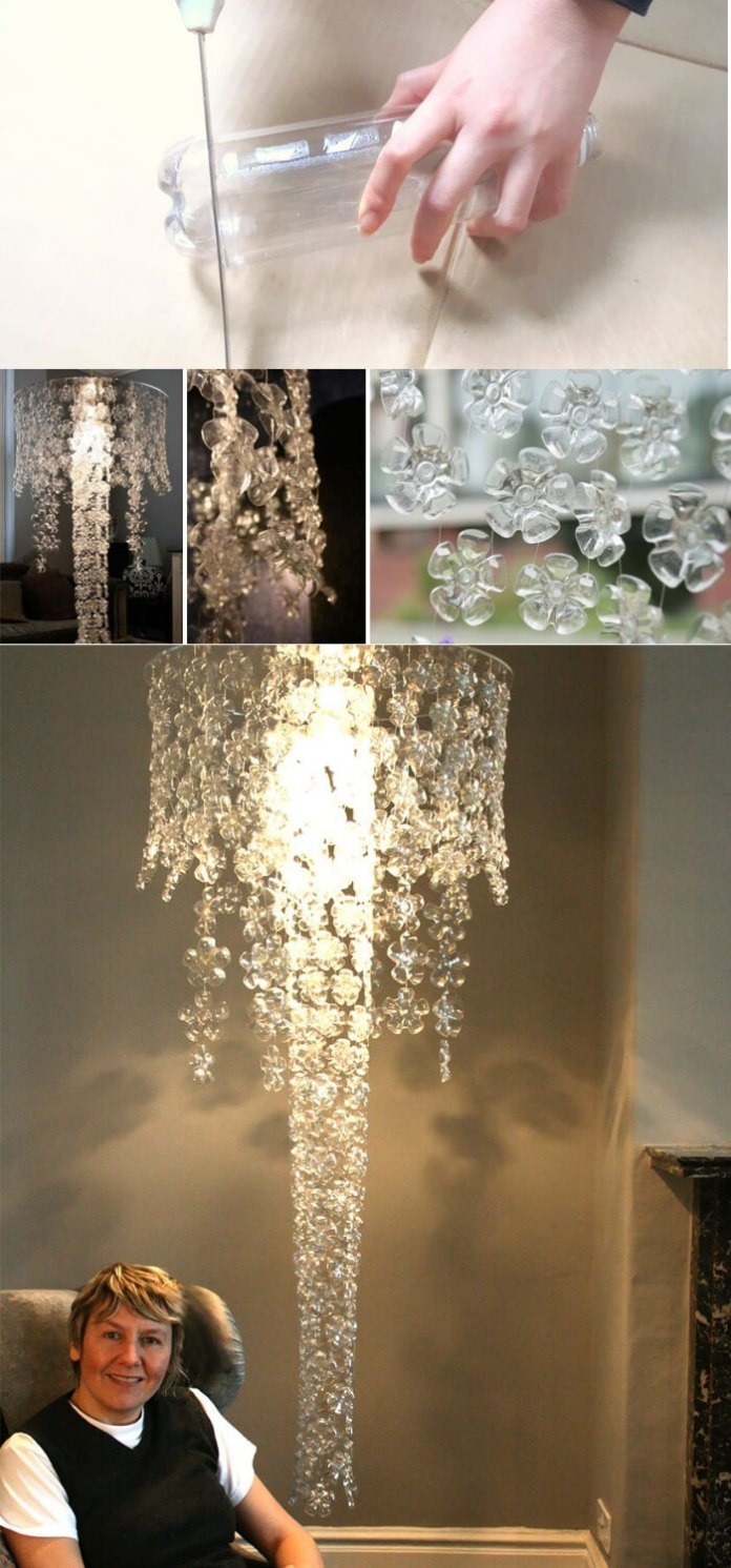 Ceiling lamp made with plastic bottles