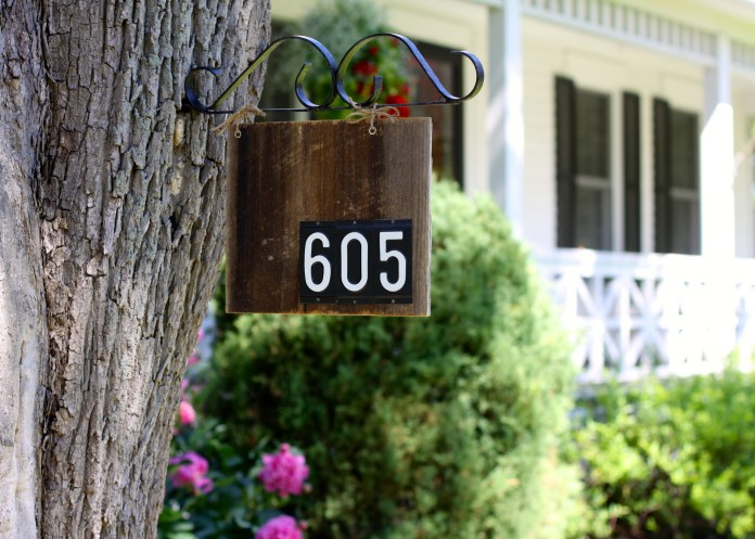 Barn wood house number sign