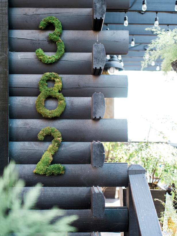 DIY House Numbers Covered in Moss