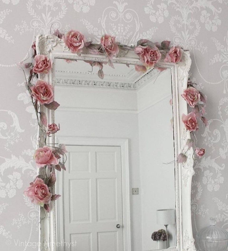 White mirror with pink flowers
