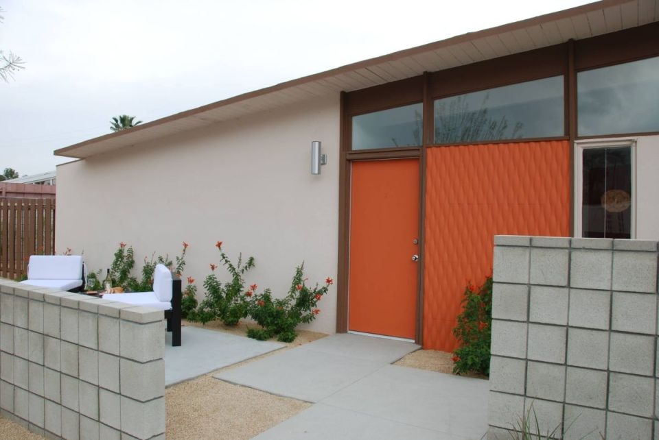 Mid-century modern house with orange accents