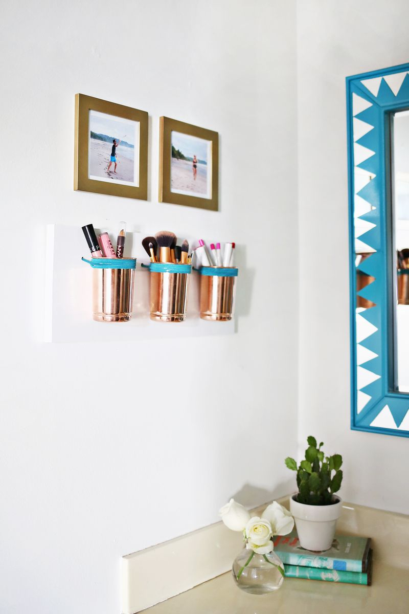 Leather & Copper Cup Organizer DIY