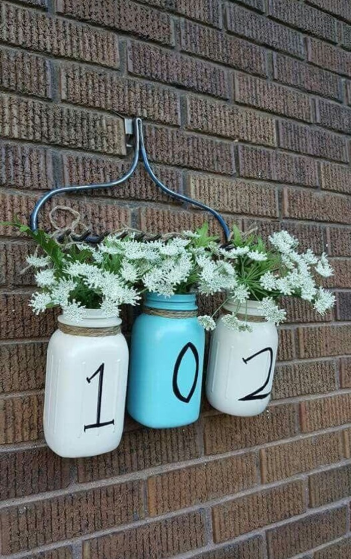 Hanging Milk Bottles with Flowers