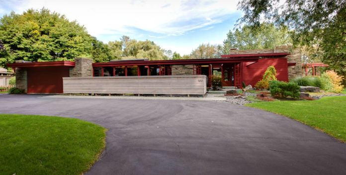 Mid-century modern with a red exteriror facade