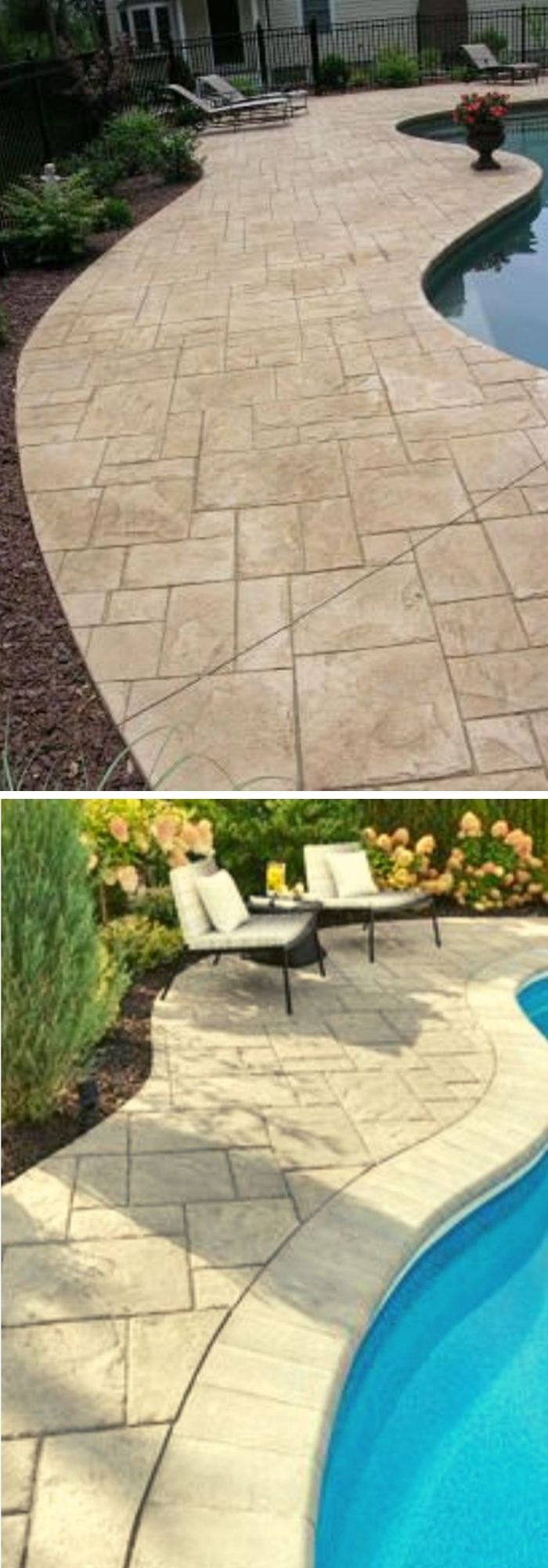 Stamped concrete patio with pool