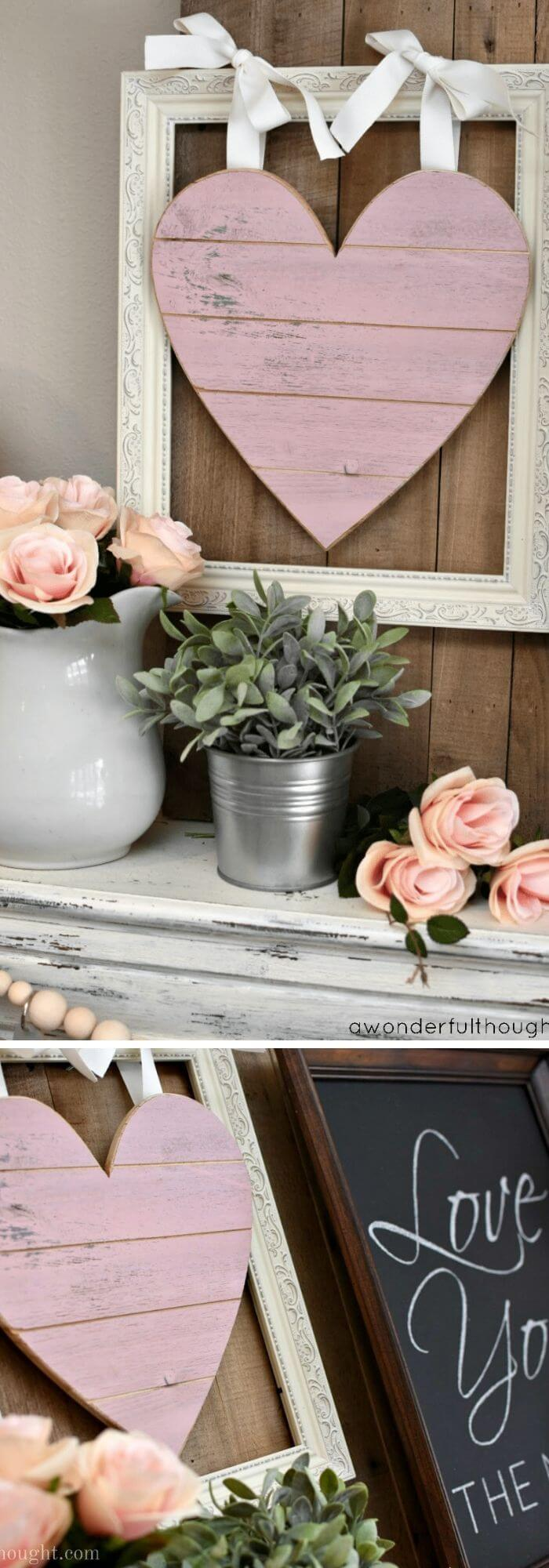 Knot with ribbons - Rustic Wood Heart Projects & Ideas
