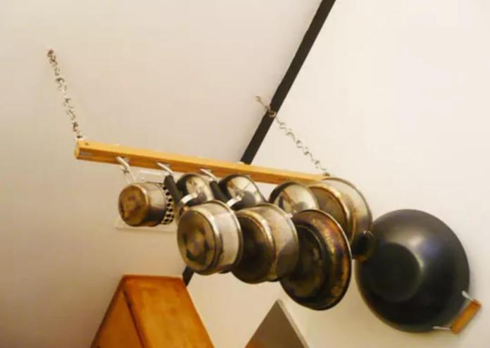Hanging pots from ceiling rack