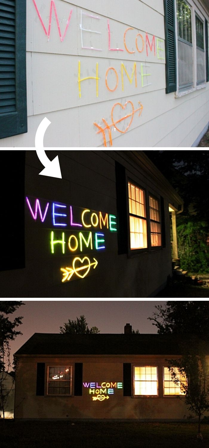 Make glow words and phrases on the outside wall of the house