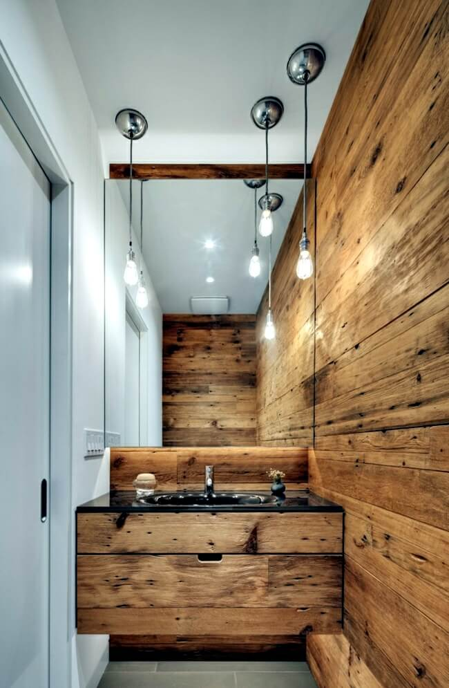 Rustic wall and sink for bathroom decor