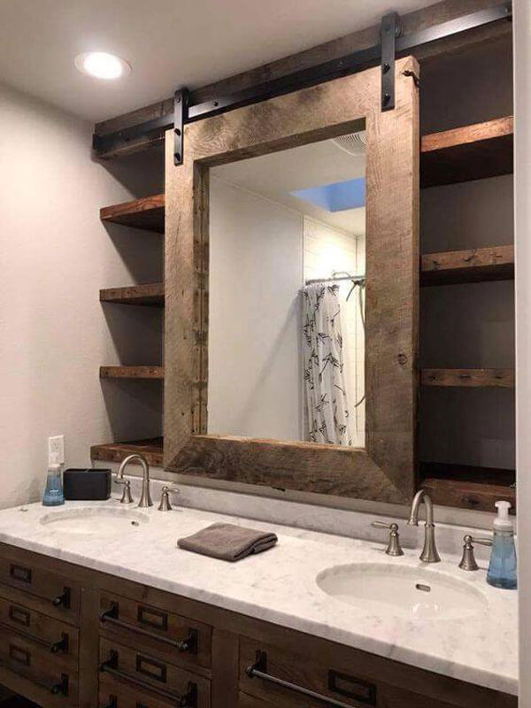 Barn door vanity mirror