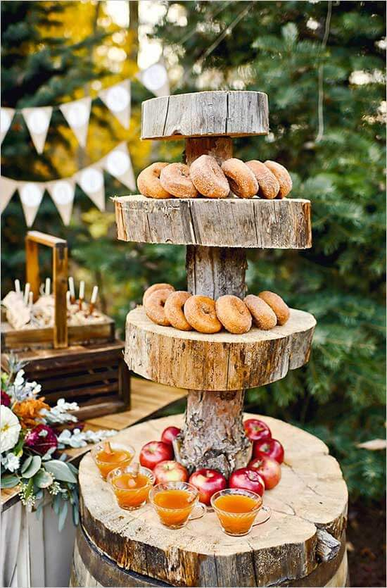 Use tree stumps for table setting