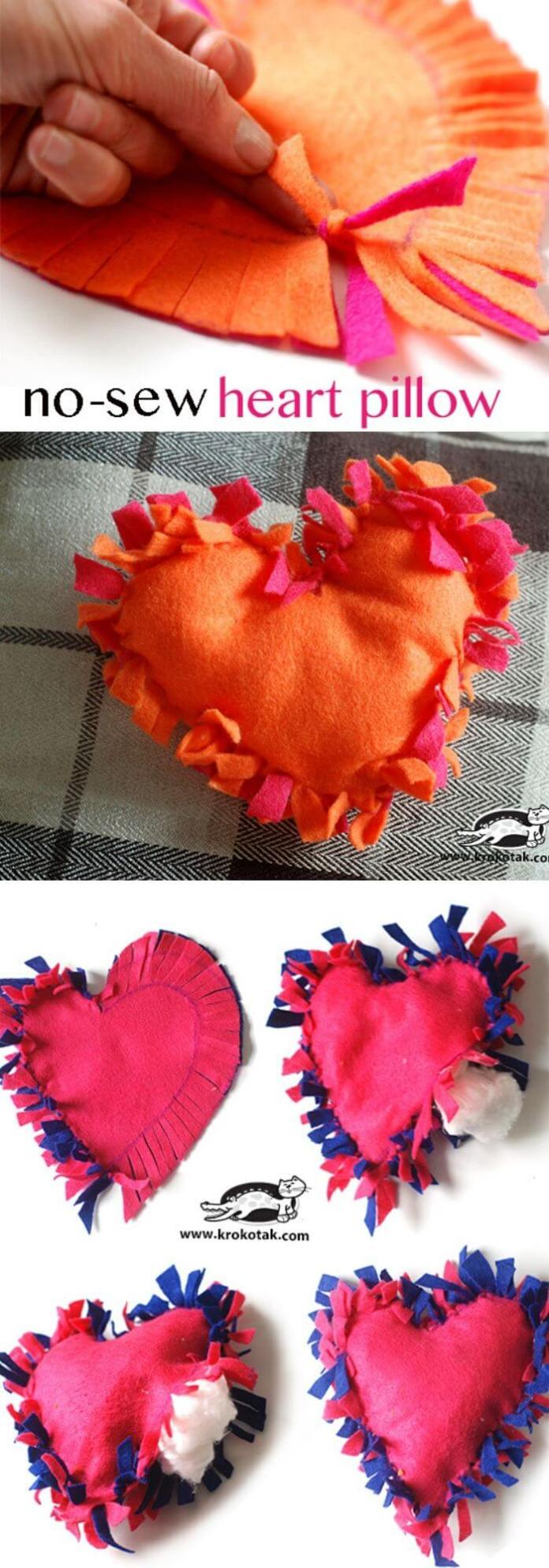 No sew heart pillow | Heart-Shaped Crafts For Valentine's Day