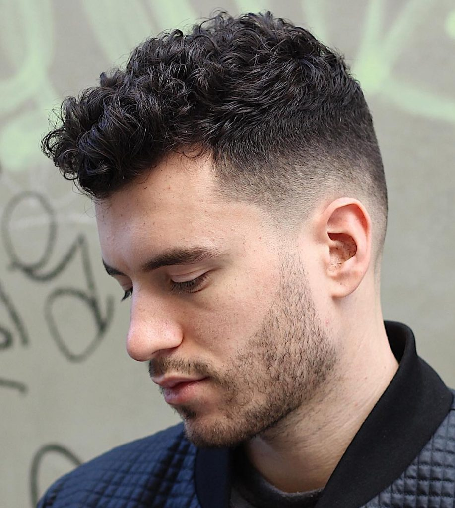 Curly hairs with top fade