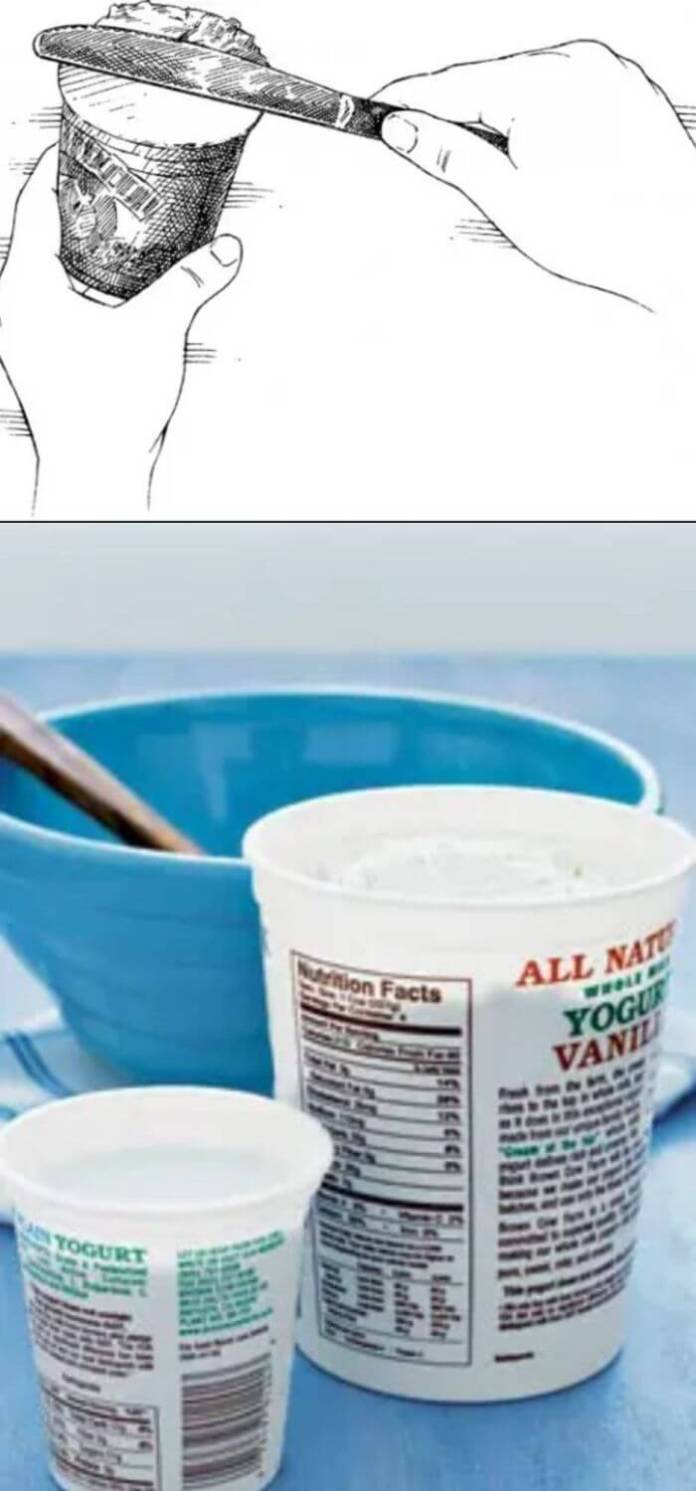 Use an Empty Yoghurt Container as a Measuring Cup