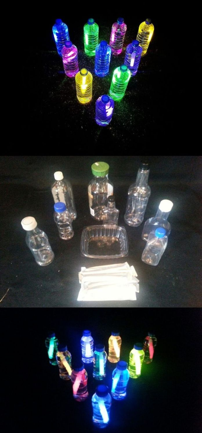 Bowling exercise at night by adding them into the bottle of water