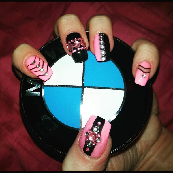 Crystal Decorated Pink and Black Nail Design