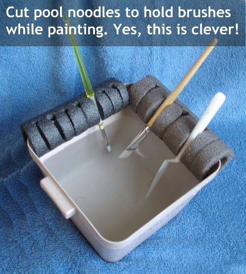 Pool noodles to secure brush while painting