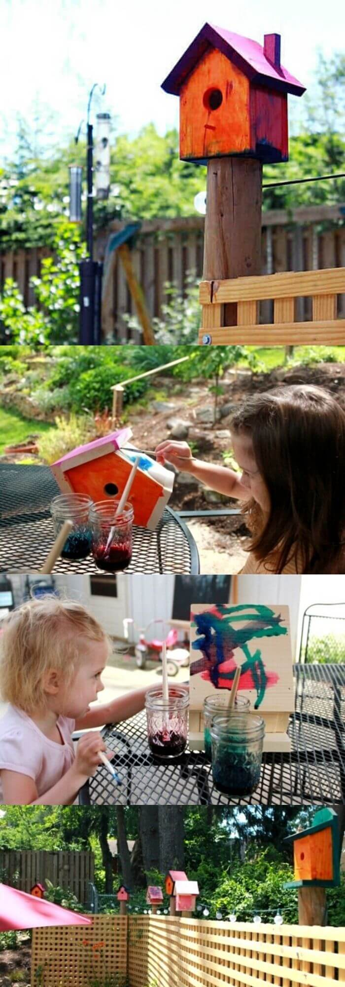 Paint Birdhouses with Kids