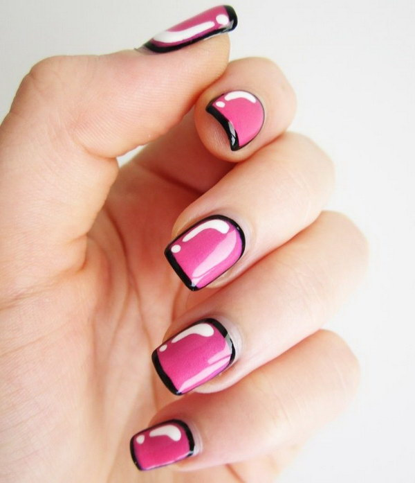 Hot Pink with Black Outline Nail Design